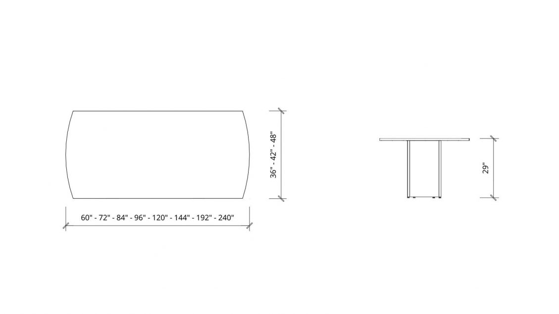 Imperial dimensions of Arc Boardroom Table 1386