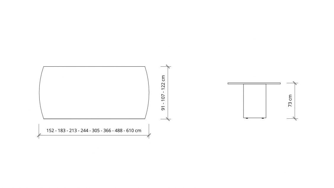 Dimensions of Arc Boardroom Table 1391