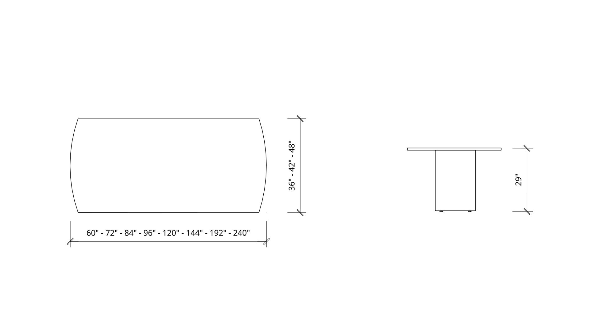 Imperial Dimensions of Arc Boardroom Table 1391
