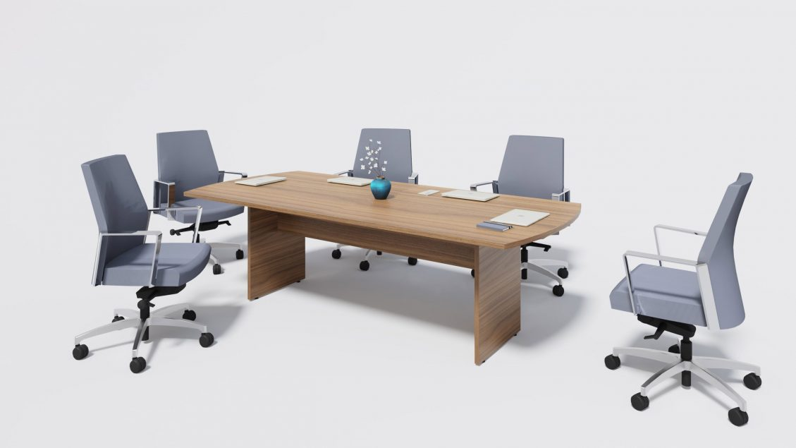 Arc Boardroom Table 1391 with chairs