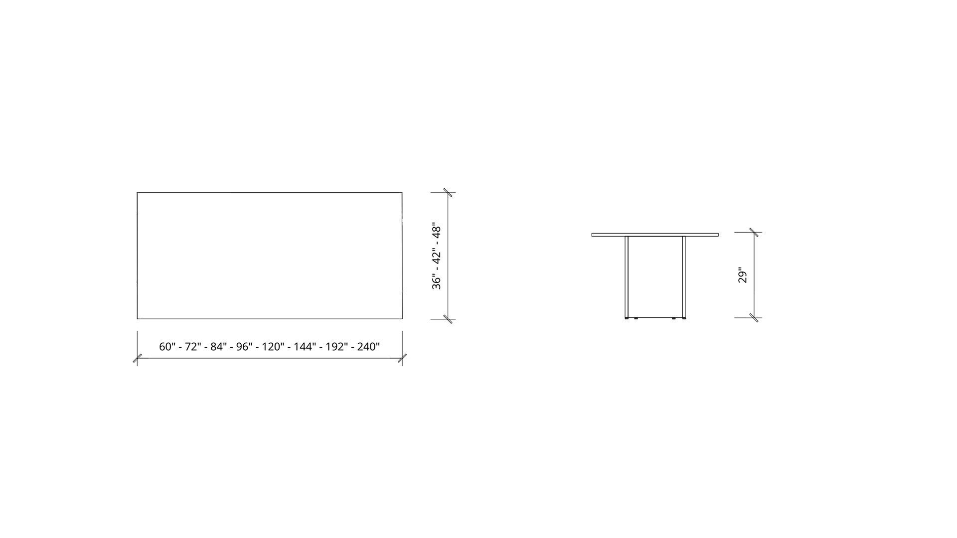 Imperial dimensions of Rectangular Boardroom Table 1398