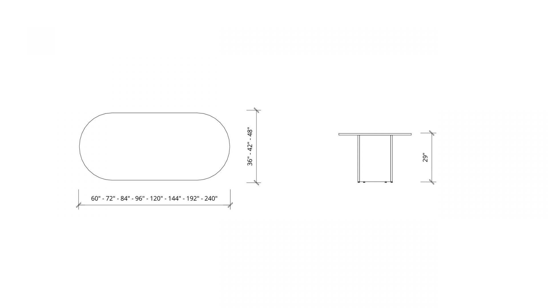 Imperial dimensions of Racetrack Boardroom Table 1399