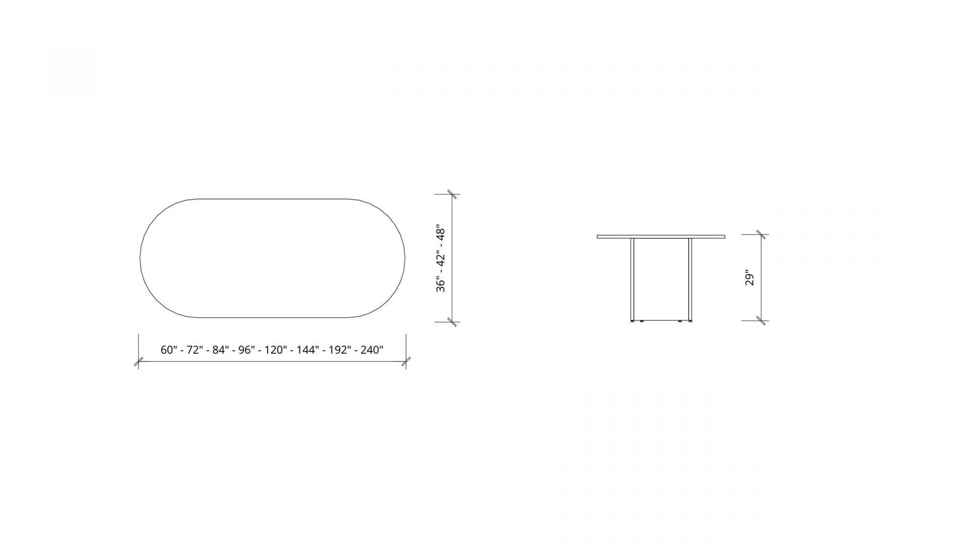 Dimensions of Racetrack Boardroom Table 1399