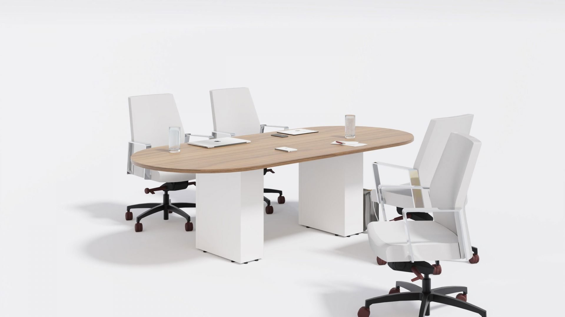 Racetrack Boardroom Table 1399 with work tools and chairs