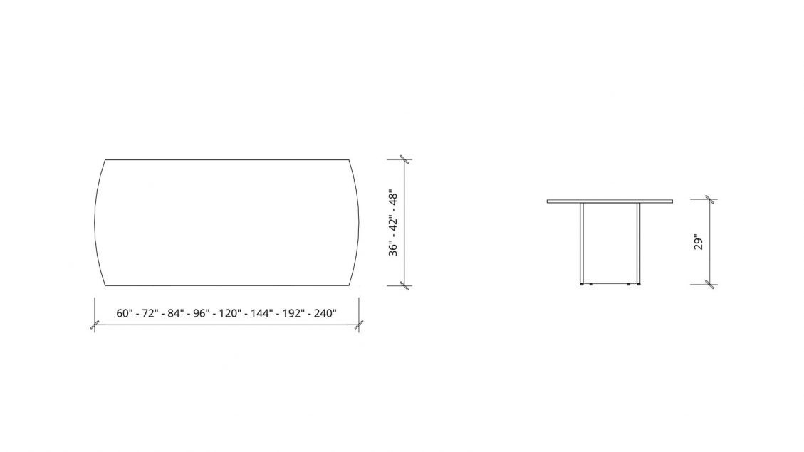 Imperial dimensions of Arc Boardroom Table 1401