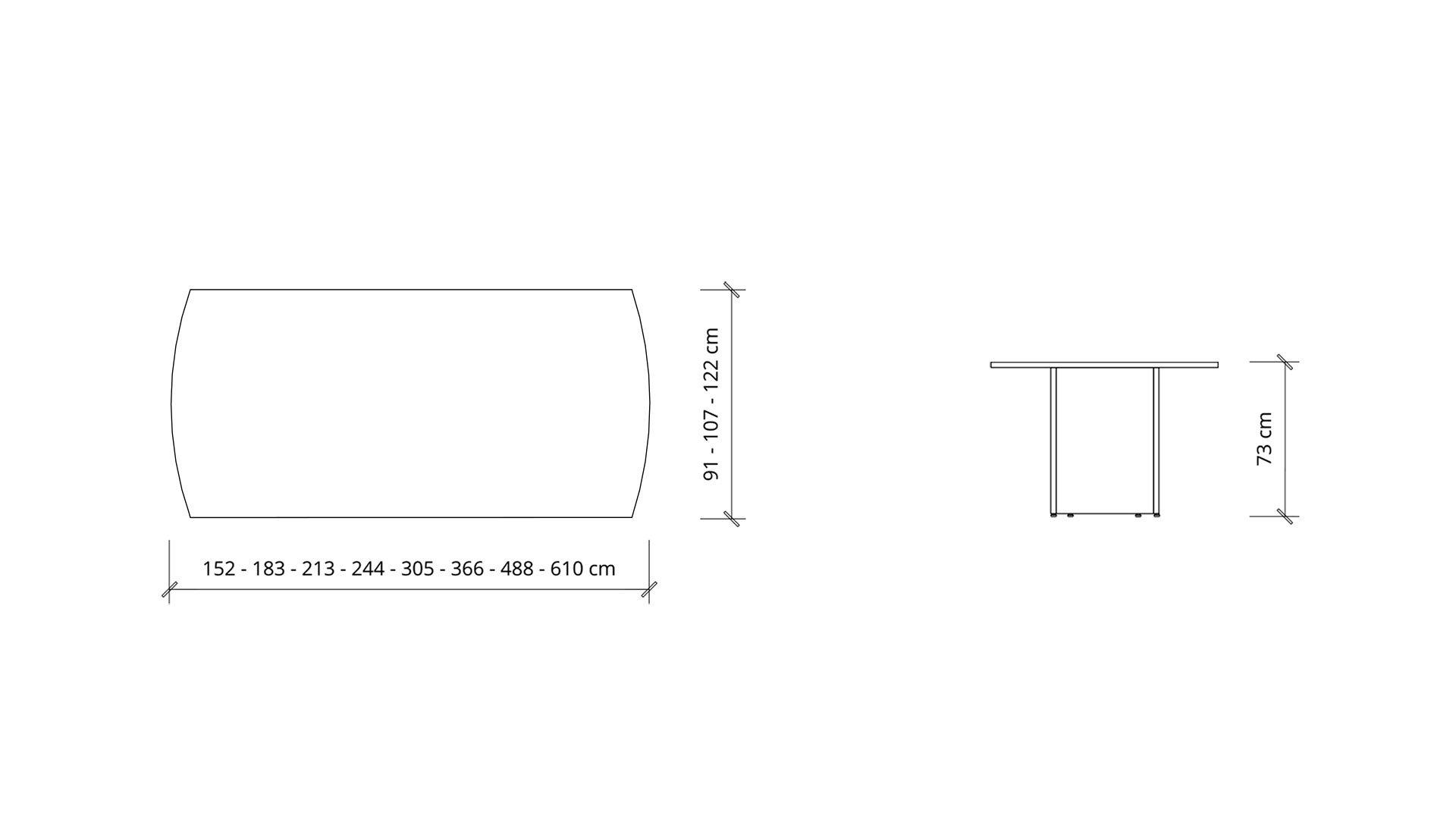 Dimensions of Arc Boardroom Table 1401