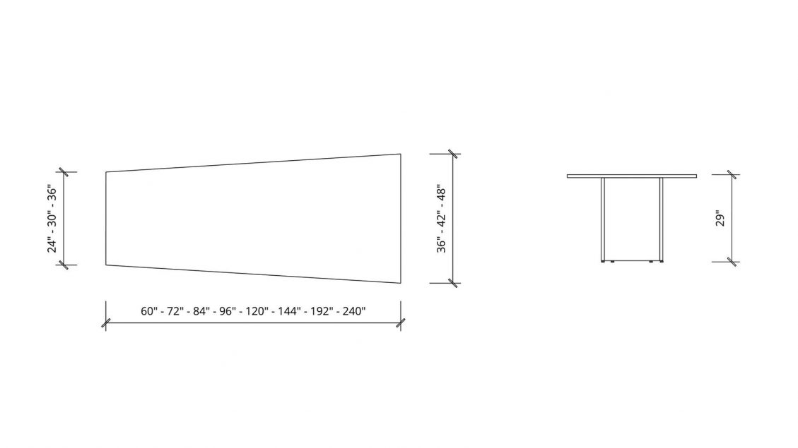 Imperial dimensions of Trapezoid Boardroom Table 1402
