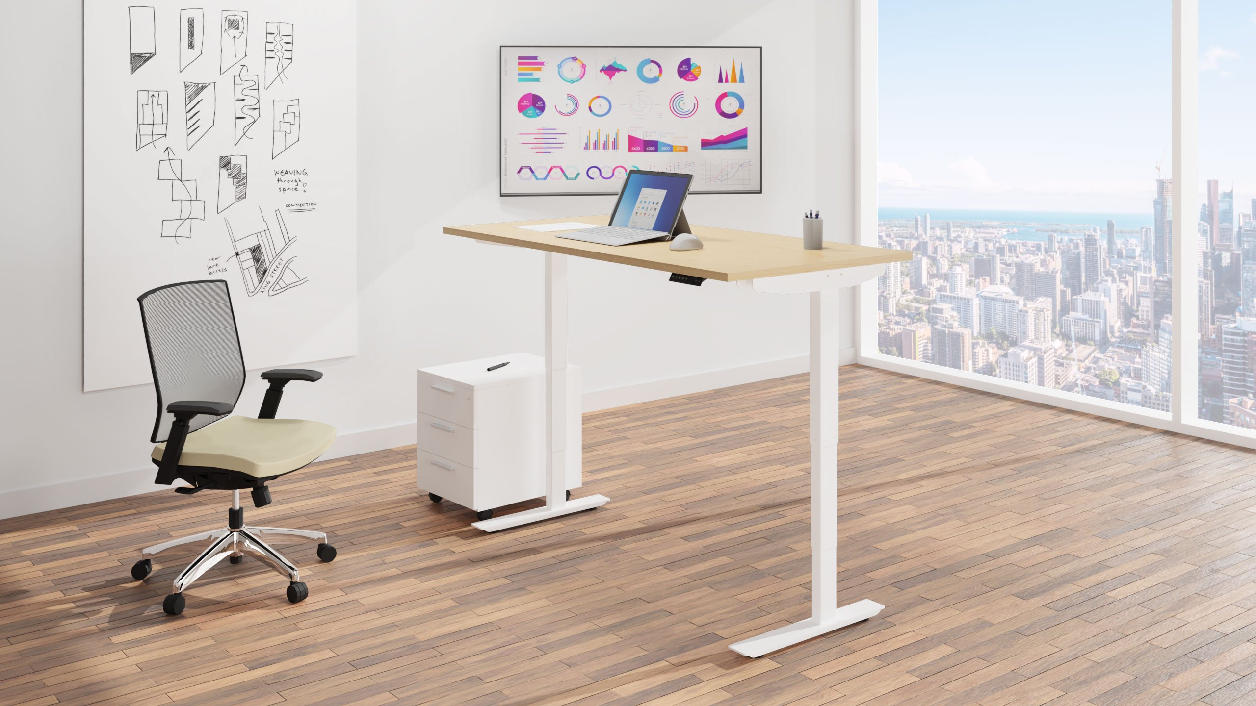 Height adjustable Sit-Stand desk in a building