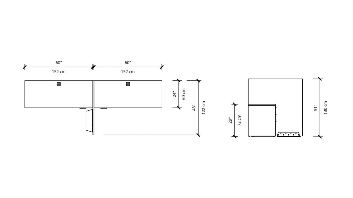 Dimensions of 2 Person Workstation 2909