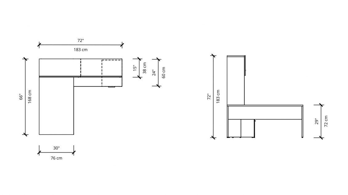 Dimensions of Hutch L-Desk 2905