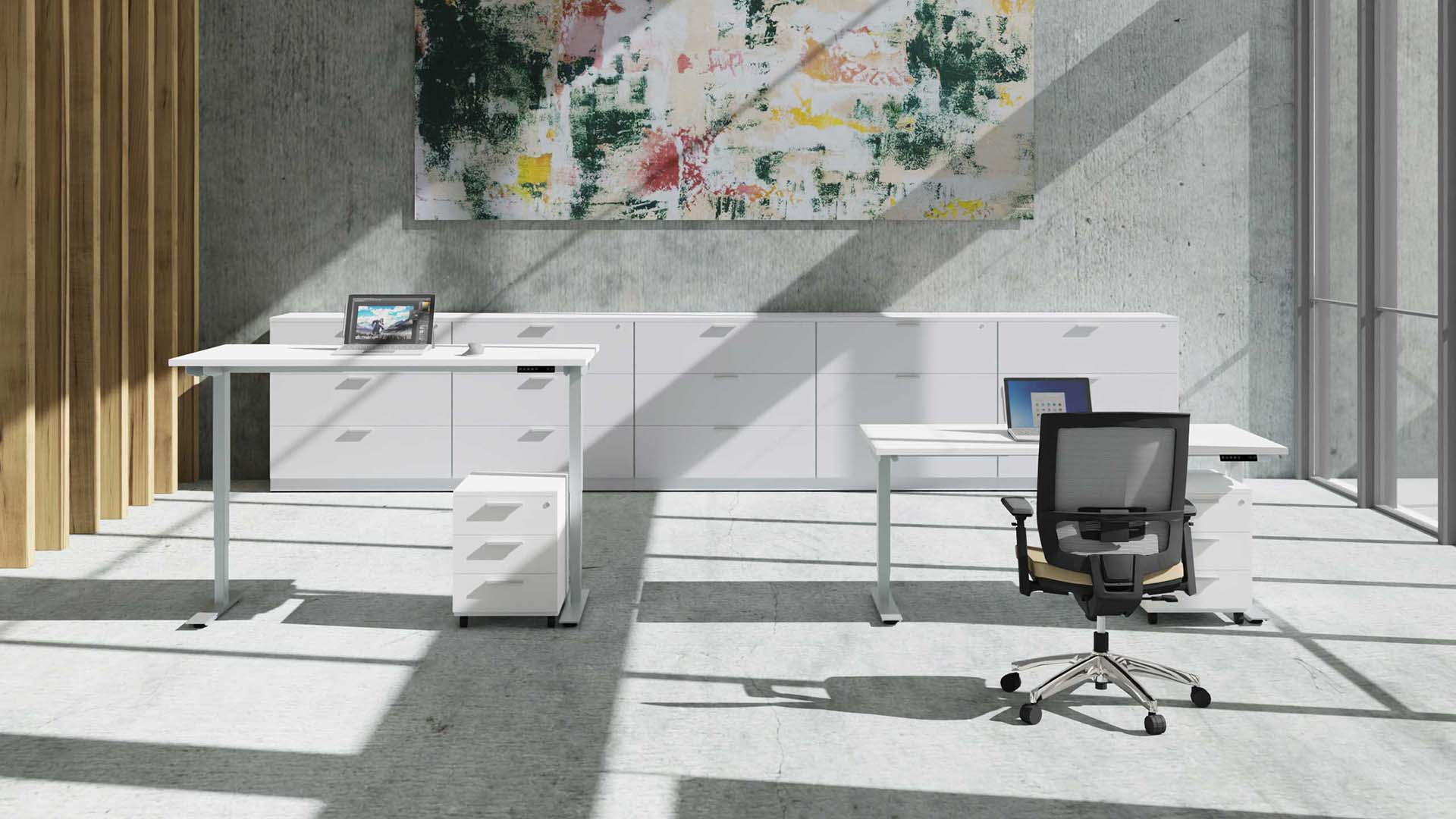 Sit-Stand desks in the interior + office chair